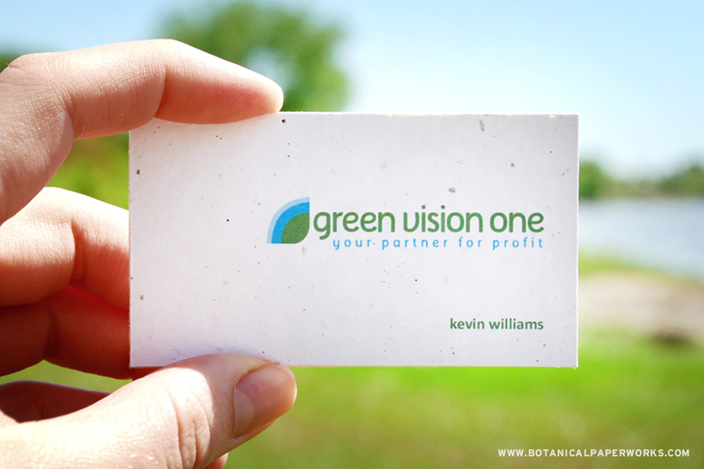 Green Vision One Seed paper business cards