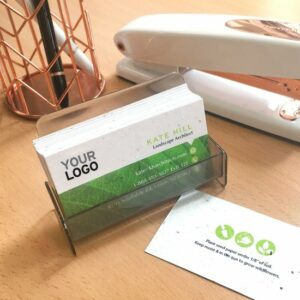 Made from eco-friendly seed paper that can be planted in soil after, these Eco Professional Seed Paper Business Cards will send a green message and give a gift that grows.