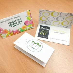 Folded Seed Paper Business Cards Samples