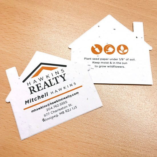 The unique design of these House Shape Seed Paper Business Cards will get you noticed and send a symbolic green message that grows.