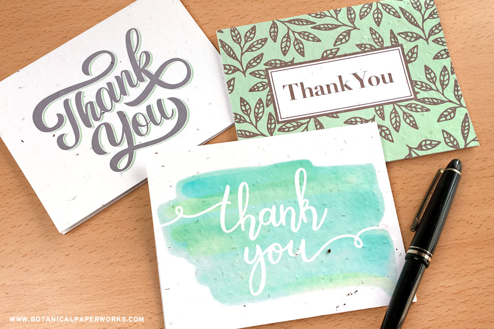 Seed paper thank you cards for businesses from Botanical PaperWorks