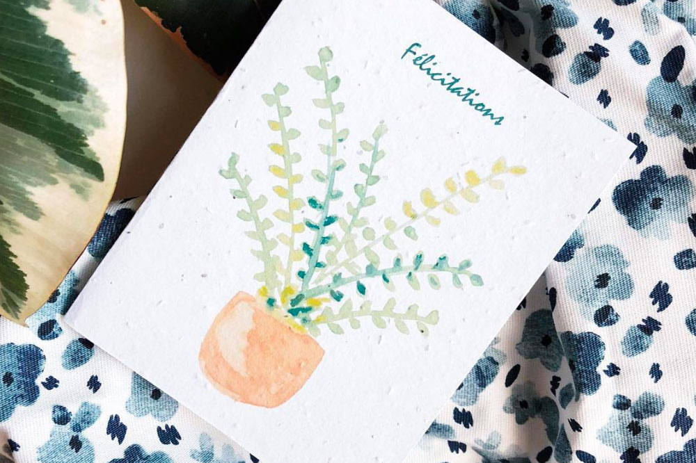 Plantable seed paper greeting card