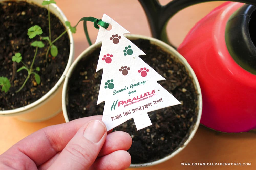 Seed Paper Holiday Tree-Shaped Ornaments for Businesses