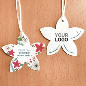 These festive seed paper holiday ornaments are embedded with seeds that will grow when planted in soil.