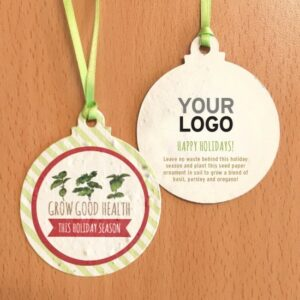 Fun and festive, the Grow Good Things Seed Paper Ball Ornaments will show your commitment to corporate sustainability while spreading holiday cheer and tasty herbs with clients and colleagues.