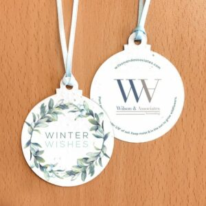 Eco-friendly and elegant, these seed paper holiday ornaments are a wonderful giveaway for all kinds of businesses during the holiday season.