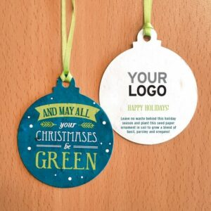 Encourage clients and colleagues to have a GREEN Christmas and promote your corporate sustainability with these charming All Your Christmases Seed Paper Ball Ornaments.