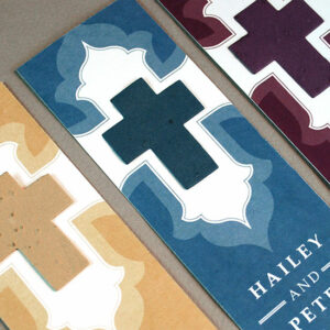 Plant the cross on these Ornate Cross Bookmark Seed Paper Wedding Favors to grow wildflowers.