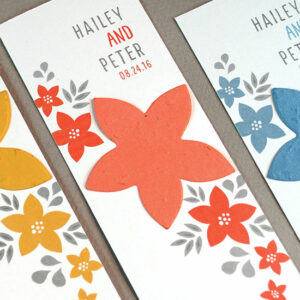 Guests can take these Floral Bookmark Seed Paper Wedding Favors home to plant the seed paper to grow blooming wildflowers.