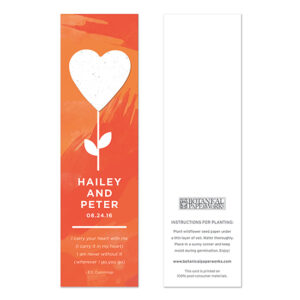 These Flourishing Heart Bookmark Seed Paper Wedding Favors are both eco-friendly and functional!