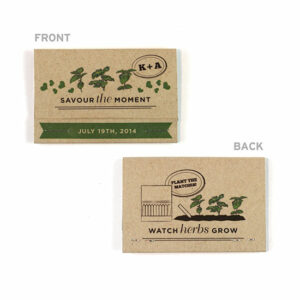 Your guests can grow a garden of edible herbs with these Rustic Herb Seed Paper Matchbook Seed Paper Wedding Favors.