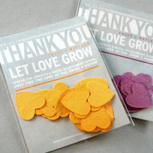 These Modern Confetti Seed Paper Wedding Favors grow beautiful wildflowers when the heart shaped confetti is planted.