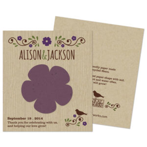 Plant the seed paper flower on these Wildflower Rustic Seed Paper Wedding Favors to grow a beautiful bouquet of wildflowers.