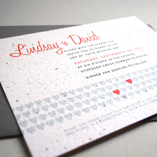 Share a special gift that grow with these seed paper wedding invitations.