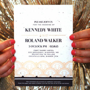 Go for glitz and glam with this art deco styple plantable wedding invitaion that grows wildflowers.