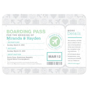 Boarding Pass Seed Paper Wedding Invitations are printed on eco-friendly seed paper.