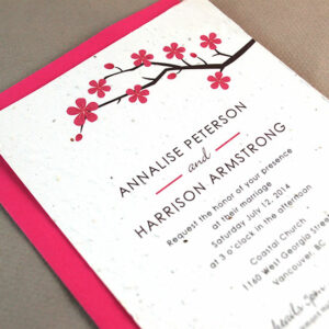 These delightful Cherry Blossom Plantable Wedding Invitations are an eco-friendly choice that will give guests the gift of flowers.