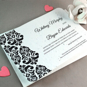 Elegant, eco-friendly and timeless, these Classic Damask Plantable Wedding Invitations are the perfect choice for a classy wedding.