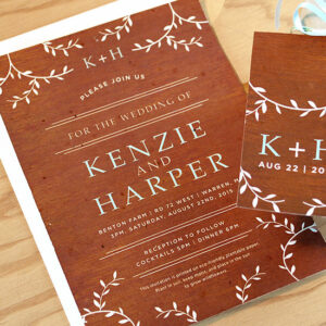 Perfect for outdoor or rustic weddings, these Classic Wood Grain PLantable Invitations are as woodsy as they are eco-friendly.