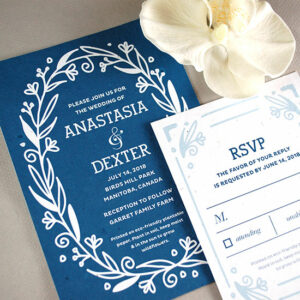 Stylish and eco-friendly, these Fancy Vintage Seed Paper Wedding Invitations are available in five fashionable shades.