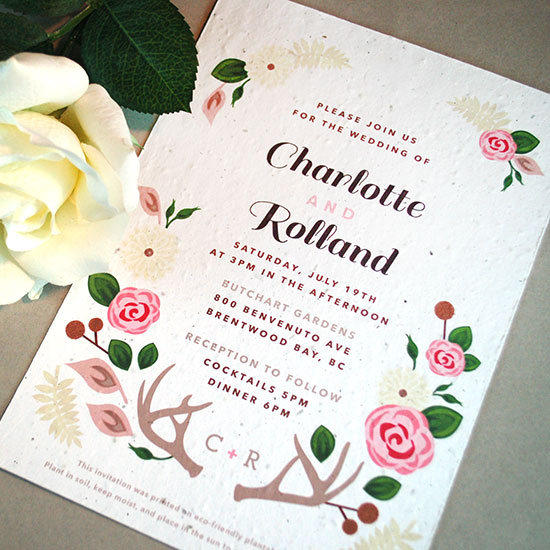 Delicate florals and woodsy elements make this seed paper wedding invitationtotally unique. Not to mention how it will also give your guests flowers to plant and grow.