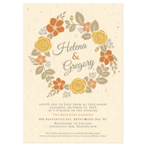 Your guests can plant these Floral Wreath Seasons Seed Paper Wedding Invitations to grow their own bounty of flowers.