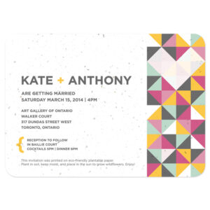 These Geometric Seed Paper Wedding Invitations are printed on seed paper that grows when planted.