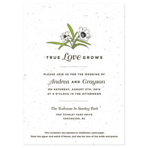 When your lucky guests plant these Love Grows Seed Paper Wedding Invitations, the paper will grow into a bouquet of colorful wildflowers.