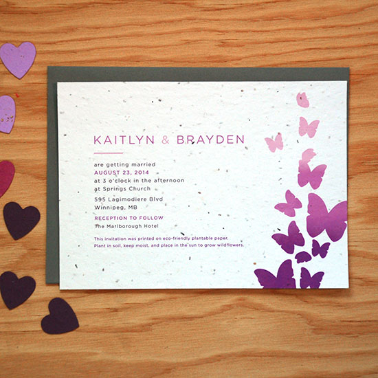 If you love butterflies and want to keep our planet beautiful by planting wildflowers that are beneficial to all insects, give these plantable seed paper wedding invitations to your guests and share the beauty.