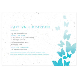 Your guests can plant these Ombre Butterfly Seed Paper Wedding Invitations to grow a pot of wildflowers.