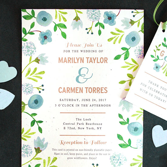 Plant these Seed Paper Wedding Invitations to grow real flowers.