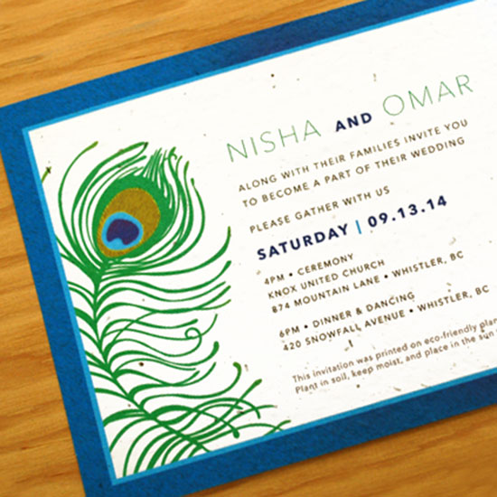 This lavish seed paper wedding invitation is a beautiful and eco-friendly way to announce your special day.