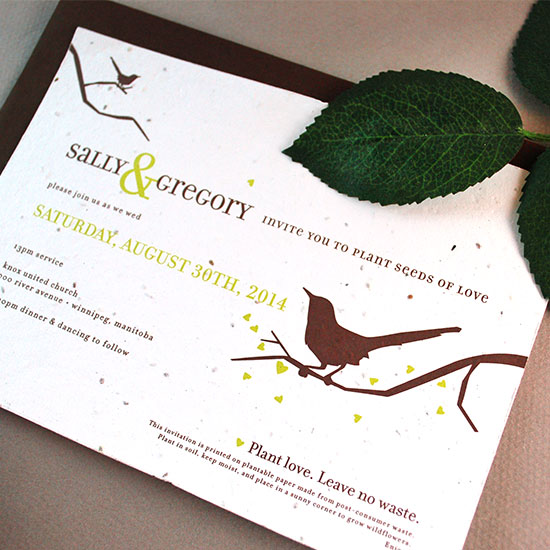 Beautiful birds make these eco-friendly seed paper wedding invitations a classic choice for all types of wedding styles.