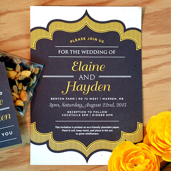 The perfect combination of class and charm, these vintage style seed paper wedding invitation are a timeless way to share you wedding details.