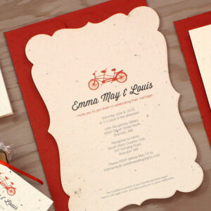 Eco-friendly with a timeless charm, these Plantable Tandem Bicycle Wedding Invitations are the perfect addition to you vintage style wedding.