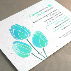 Give and grow flowers with these artistic seed paper wedding invitations.