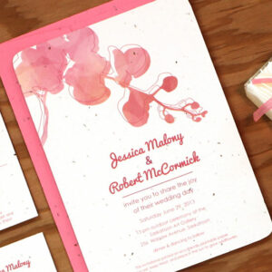 This bright and inviting seed paper wedding invitation will give your guests flowers to plant and grow.