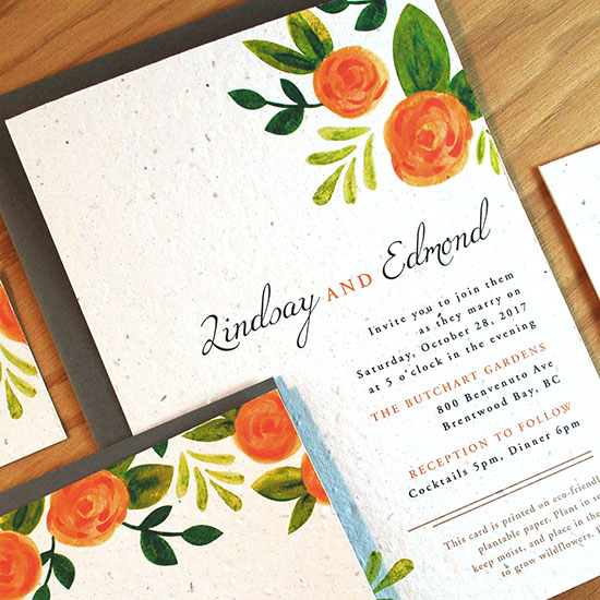 Elegantly hand-painted, these Watercolor Roses Plantable Wedding Invitations are simple, unique and infinitely romantic.