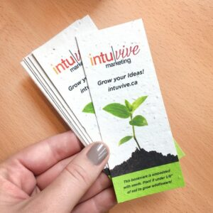 This plantable bookmark is pre-designed and ready-to-order! Simply send us your logo and message and we'll customize the template just for you.