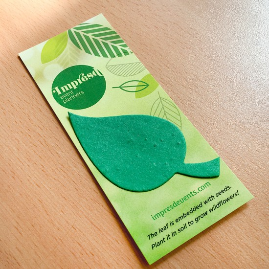 Graphic Leaf Shape Small Eco Bookmarks are both useful and fun because recipients can use the bookmark to mark their page in their favorite books and plant the leaf shape to grow wildflowers.