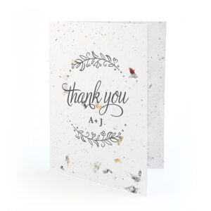 Made from recycled material embedded with seeds, these Seeds of Love Plantable Thank You Cards share your gratitude in a beautiful, waste-free way.