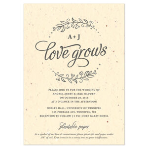 These delicate and elegant Seeds of Love Plantable Wedding Invitations are embedded with wildflower seeds so your guests can plant them and watch your love grow.