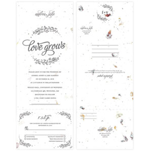 These Seeds of Love Seal and Send Wedding Invitations are embedded with real flower petals, the petalled paper option has a romantic and handmade quality that is both romantic and elegant.
