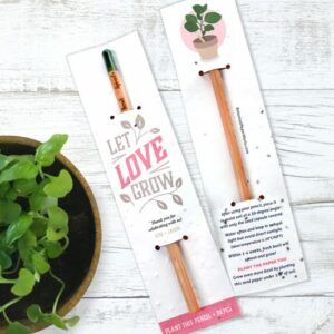 Let love grow with these plantable pencil wedding favors with personalized seed paper sleeves!