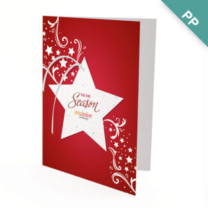 Share a holiday greeting and a gift that grows with clients, staff and colleagues with these Seasonal Star Ornament Business Holiday Cards.
