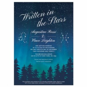 Perfect for a couple whose love was written in the stars, this stunning plantable wedding invitation is romantic and perfect for wedding nuptials at night.