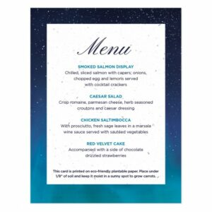 Add a touch of a starry night sky to your place settings with these elegant plantable menus.
