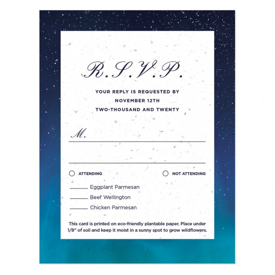These elegant Written In The Stars Seed Paper Reply Cards will capture your replies in style and then grow wildflowers.