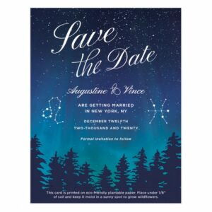 Save the date and celebrate how your love was written in the stars with these beautiful seed paper cards.