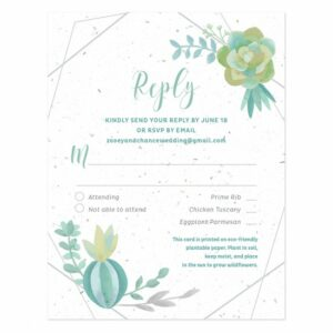 Pair these stylish reply cards with Succulents Seed Paper Wedding Invitations for a trendy, yet eco-friendly look and feel!